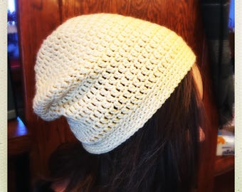 Crocheted Yellow Slouchy Hat