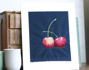 """Hand embroidered cherries textile art 8x10"""""""