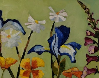 Iris Original Oil Painting