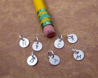 TINY initial charm - Itty Bitty initial tag - TEENY TINY 6mm charm - Sterling silver letter disc - Small Necklace, Bracelet, Anklet charm