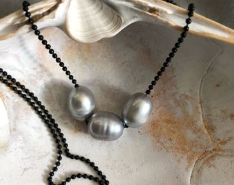Freshwater Pearl Necklace, 3 Pearl Necklace, Silver pearl necklace, pearl jewelry, bridesmaid necklace, gift for her, June birthday