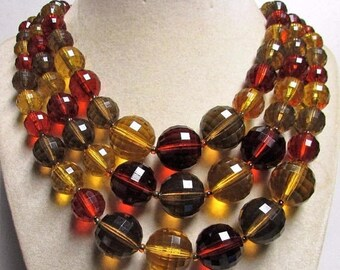 ON SALE New Old Stock Vintage Brown 3 Strand Chunky Necklace & Earring Jewelry Set - 50's Collectible Retro Collectible Costume Demi Parure