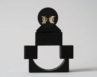 Void earrings, modern earrings, one of a kind earrings, geometric earrings, statement earrings, brass earrings, silver earrings