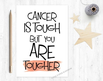 cancer card, cancer is tough but you are tougher, cancer support card, chemo card, chemotherapy card, you beat cancer, cancer survivor card