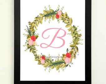 Letter B Printable, 8x10 Instant Download, Baby Girl Nursery Art, Nursery Decor, Floral Monogram, Letter Art, Baby Gift, Baby Shower Gift