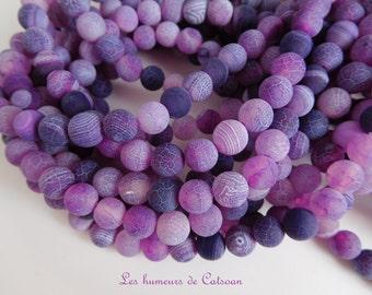 50 cracked 8 mm purple dragon vein agate beads