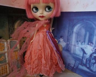 OOAK BLYTHE DRESS - Vintage Styled Shabby Elegance Tattered/Layered/Hand-Dyed Silk Dress  -  Peach Margarita