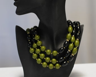 SALE - Bib Necklace, Black Green Necklace, Layered Necklace, Multi strand necklace, Gift for her, Statement Necklace, Oval and round beads