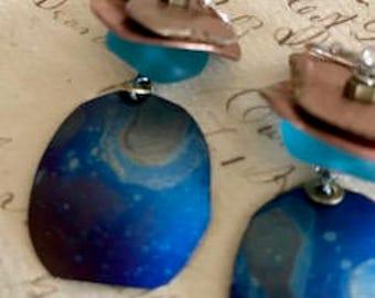 "Earrings;""Titanium Teasers""; Titanium; Patina; Organic; Sea Glass; Blue; Copper; Sterling Silver"