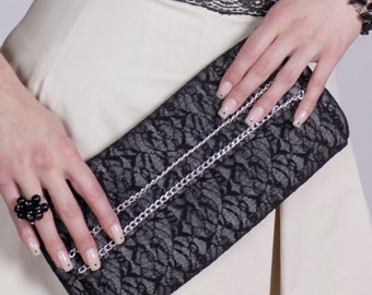 Elegant woman Clutch, black lace bag, small party bag, cotton, handmade