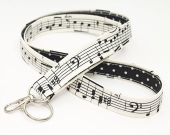 ID Lanyard, Swivel Clip ID Holder, Nurse Lanyard ID Badge Holder, Neck Strap - black and white music notes with dots