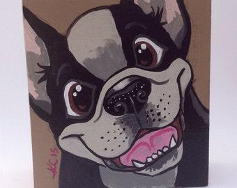 Boston Terrier - Dog Art - Dog Painting - Canine Art - Kids Room Decor - Animal Art - Pet Portrait - Animal Decor