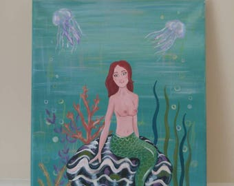 Fair Skinned Fiery Haired Mermaid Sea Goddess Acrylic Painting