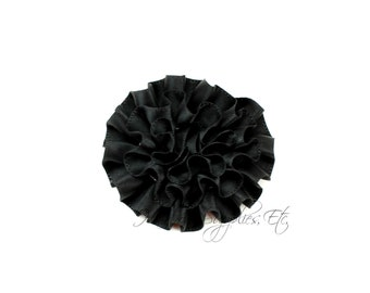 Black Ruffle Flower Silk Mini 2 inch - Your choose 1 or more - Hairbow Supplies, Etc.