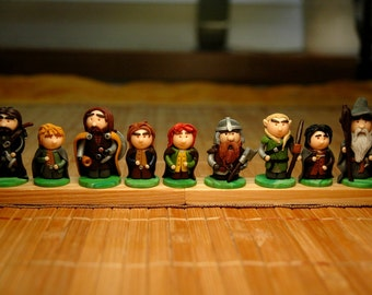 Fellowship of the Ring - 9 figurines Gandalf, Aragorn, Legolas, Gimli, Frodo, Sam, Pippin, Merry, Boromir