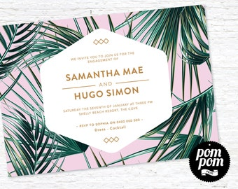 Palm Engagement Invite - PRINTABLE DIGITAL FILE
