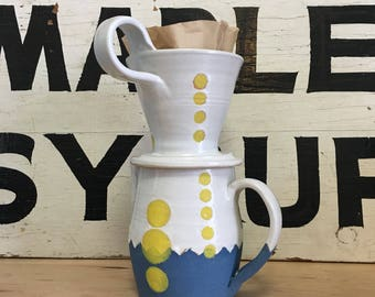White, Blue, and Yellow Coffee Pour Over | Coffee Dripper | Handmade Ceramic | Modern Home Pourover | Coffee Lover Gift