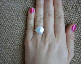 Freshwater Coin Pearl Wire Wrapped White Pearl Ring - Silver Gold Bronze Sterling 14K Filled Sizes 3 4 5 6 7 8 9 10 11 12 13 14 15 and 1/2