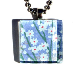 lavender field - glass tile and Japanese chiyogami pendant necklace