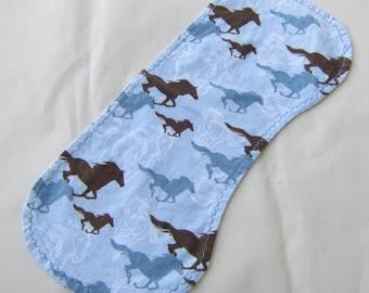 HORSES Light Blue Color Cotton Flannel Fabric Baby Burp Cloth Drool Cloth
