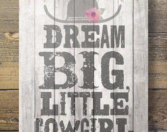 "Art print ""Dream big, little cowgirl!""  Printable kids room wall art A3/A4 size"