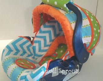 Landen~Blue Chevron/Stripe/Lime Polka Dot/Orange Minky Dot Infant Car Seat Cover 5 piece set