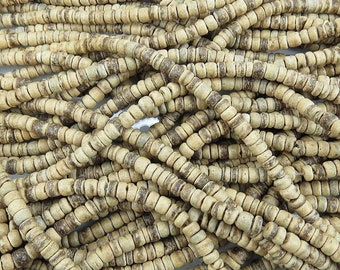 5mm Natural Light Coconut Heishi Spacer Beads - 16 Inch Strand (BS735)