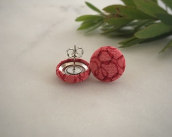 Red Earrings. Red Circle Fabric Pattern Earrings. Handmade Earrings. Fabric Covered Button Earrings. Stud Earrings. Clip On Earrings.