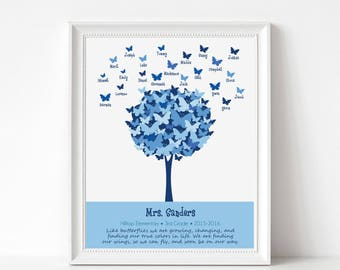 Personalized TEACHER Gift Print - Custom Print with Student Names - Butterfly Tree - Personalize with Name, School, Grade
