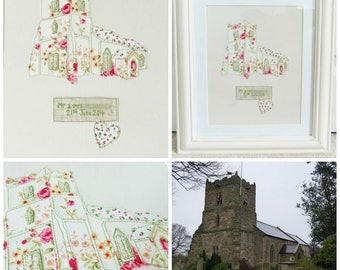 Framed personalised stitched venue picture - Wedding gift/Anniversary gift