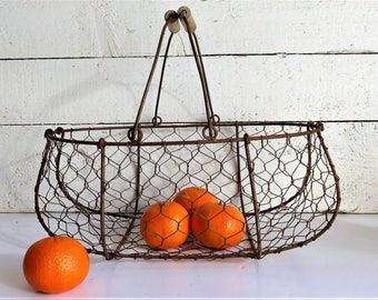 French Vintage Wire Basket, Wire Fruit Basket. Garden Wire Basket. Antique Handmade Wire Basket. Vintage Oyster Basket, Rustic Kitchen Decor