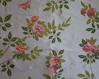 "Lot of 2 x COLEFAX & FOWLER ""Rose Chinoise"" F3434/02 Floral 100% Silk Fabric Panel Aqua Pink 19 x 14.5in (paper border not included)"