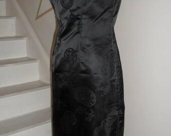 stunning black silk ? asian dress black on black design smalls
