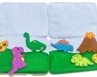 Felt quiet book - Toddler quiet book - Quiet book page - Toddler busy book - Busy book page - Felt busy book - Dinosaur activityset #ACT41