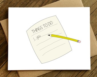 Funny Love Card - Anniversary Card - Card for Boyfriend - Card for Girlfriend - Things To Do.