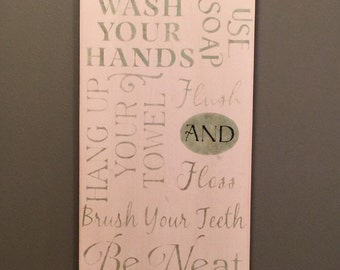 Bathroom rules sign - Bathroom sign - Bathroom rules - Bathroom decor - Kids bathroom art - Bathroom wall decor - Bathroom wall art - Bath