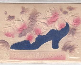 Blue Satin Shoe With Embossed Roses Sincere Regards Unused Antique Postcard C1910