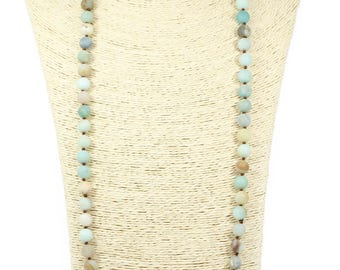 Lovely Bead Handmade Double Knotted Amazonite Knotted Necklace Natural Stone 10 mm(36 Inches Long)