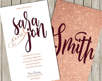 Burgundy Wedding Invitation, Burgundy and Blush Wedding Invitations, Glitter Wedding Invitations, Wedding Invitation Suite, Blush Invitation
