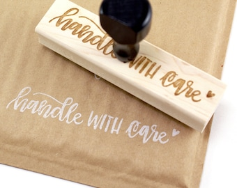 Shop Exclusive - Handle With Care rubber stamp- hand lettered wood stamp - stationery & packaging