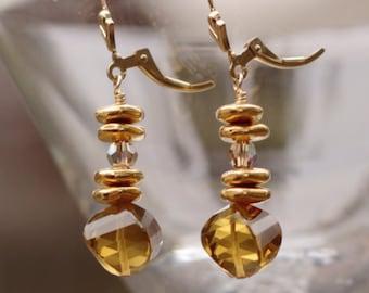Cognac Quartz Earrings - Gold Cognac Quartz Earrings - Gold Quartz Earrings – 14K Gold Fleur De Lis Earrings - Quartz Fleur De Lis Earrings