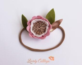 Peony| single flower headband | felt peony flower | rose gold flower headband | felt flower crown