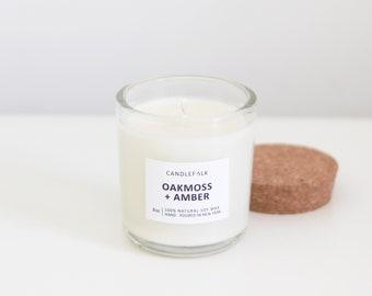 OAKMOSS + AMBER - 8 oz Soy Candle - Hand-Poured - Candlefolk