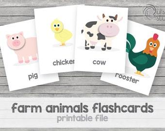 Printable kid's farm animals flashcards, english