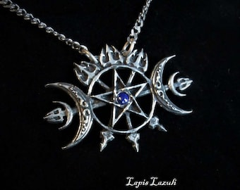 Sigil of Hecate pendant, triple moon necklace with pentagram, The Hecateidon