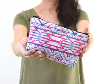 "Aztec Tribal Boho Print Zippered Cosmetic Bag, Make-up Bag, Toiletry Bag, Pouch - 8"" x 5.5"""
