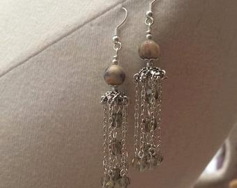 Jasper and smokey quartz crystal chandelier earrings on silver