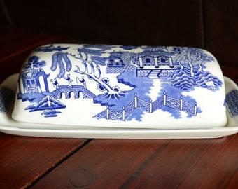 Churchill Blue Willow Quarter Pound Butter Dish