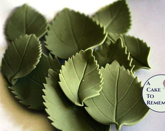 12 wedding cake leaves, gumpaste hydrangea leaves, two different sizes. Edible leaves for cakes, edible cake decorations.