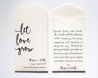 Let Love Grow Cream Personalized Seed Packet Wedding Favors - Flower Seed Envelopes - Custom Bridal Shower Favor - Many Colors – #boho